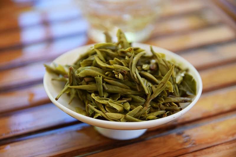 Da Fo Long Jing brewed leaves